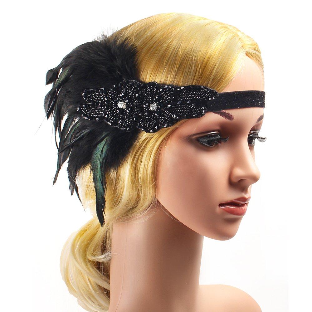 Collana Beelittle Anni 20 Accessori Set Fascia Guanti portasigarette Grandi Costumi Gatsby per Donna