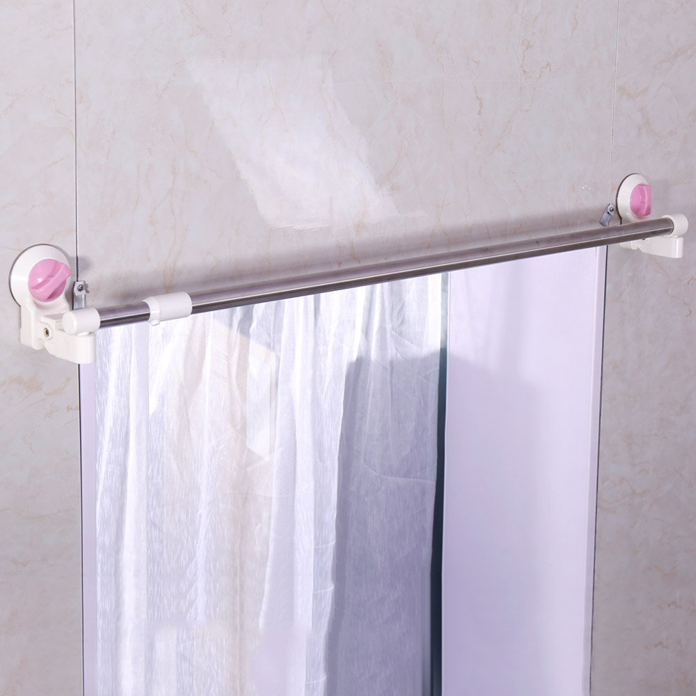 Baoyouni Adjustable Stainless Steel Shower Curtain Rod Bar Suction