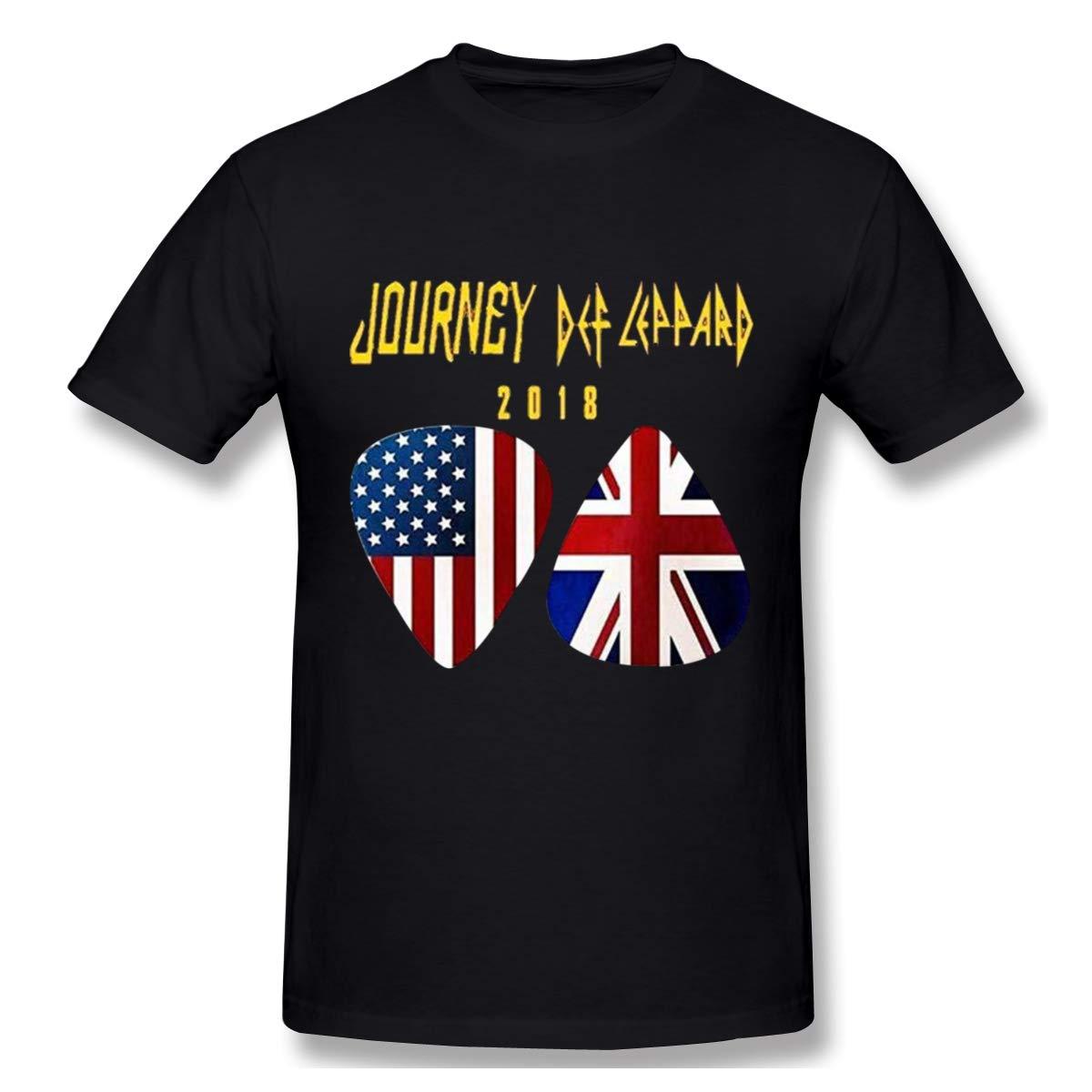 Charlynie Men's Logo Print of Tour 2018 Journey Def Leppard Regular Short Sleeve T Shirts Black