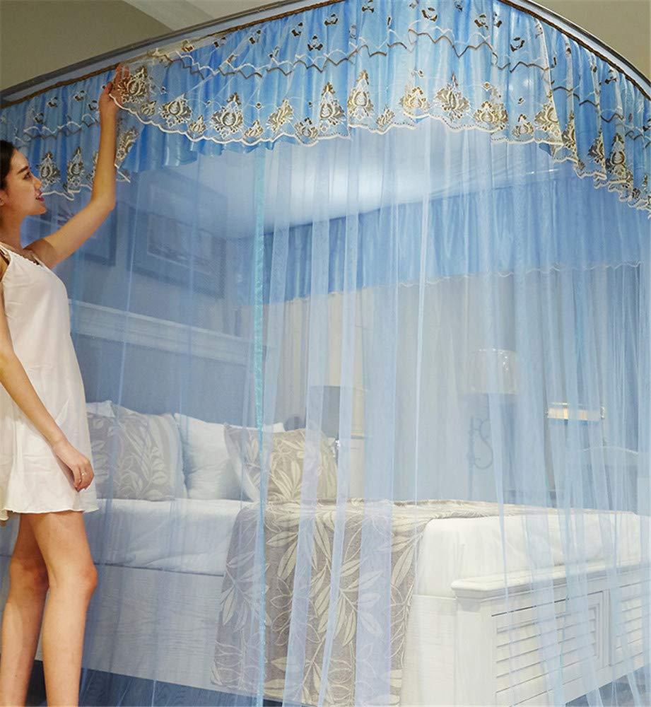 Retractable u-Type Mosquito net Double Bed net Palace net Outdoor Mosquito net Travel Mosquito net Mosquito net, Blue, L (120-245Adjustment) W200cm by RFVBNM Mosquito net (Image #7)