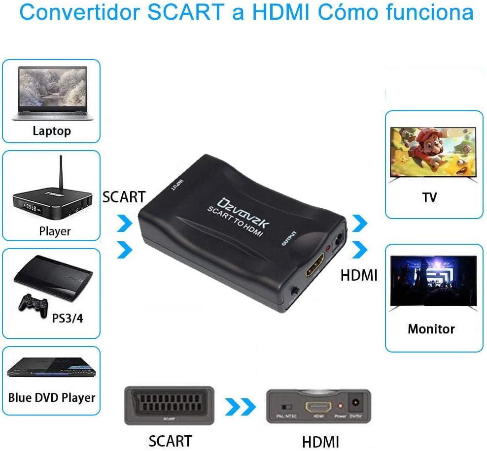 Ozvavzk Scart HDMI Convertidor,Euroconector a HDMI Adaptador HD ...
