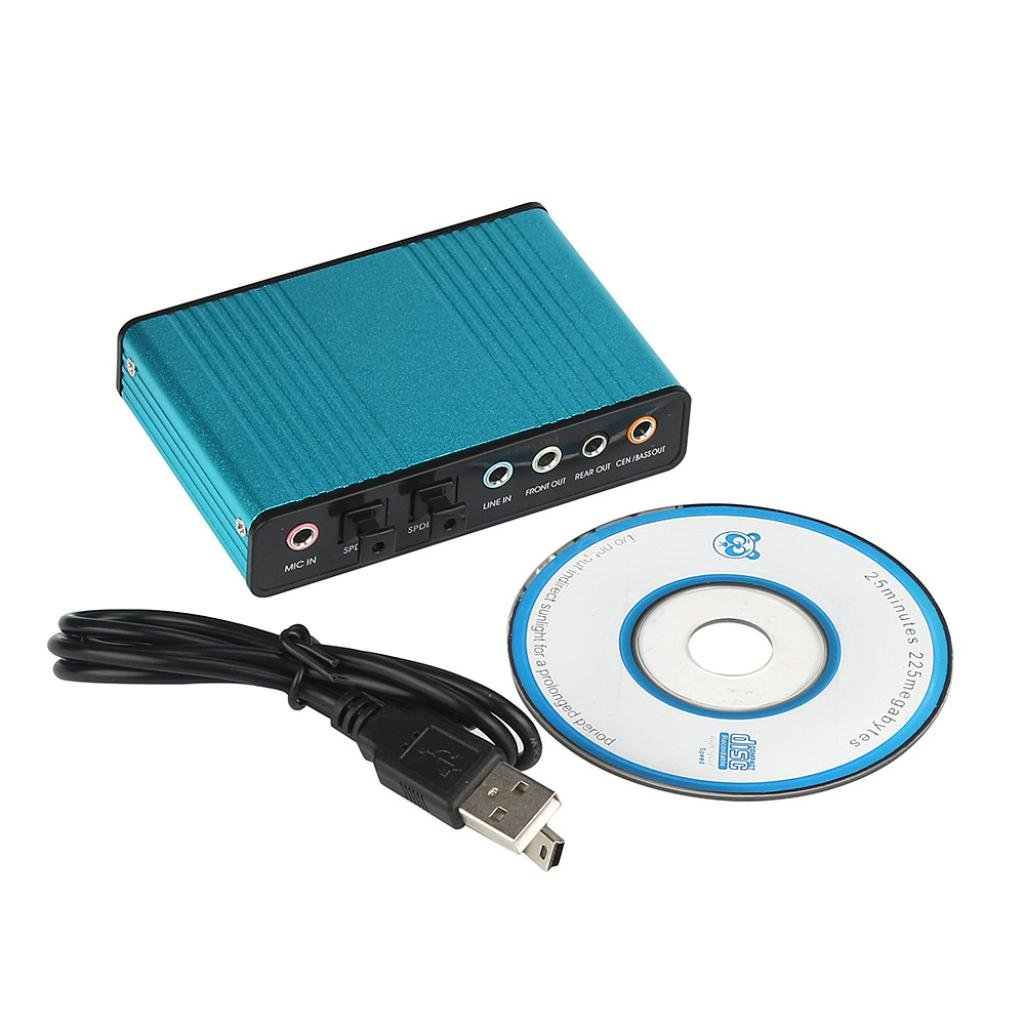 USB 5.1 Channel External Optical Audio Fiber Sound Card S//PDIF for Laptop PC