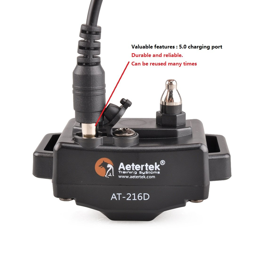 Aetertek Upgrade AT-216D 600 Yard Waterproof Rechargeable Remote Dog Training Shock Collar ,Beep ,Vibrate Stop Bark E Collar (For 2 dogs) by Aetertek (Image #3)
