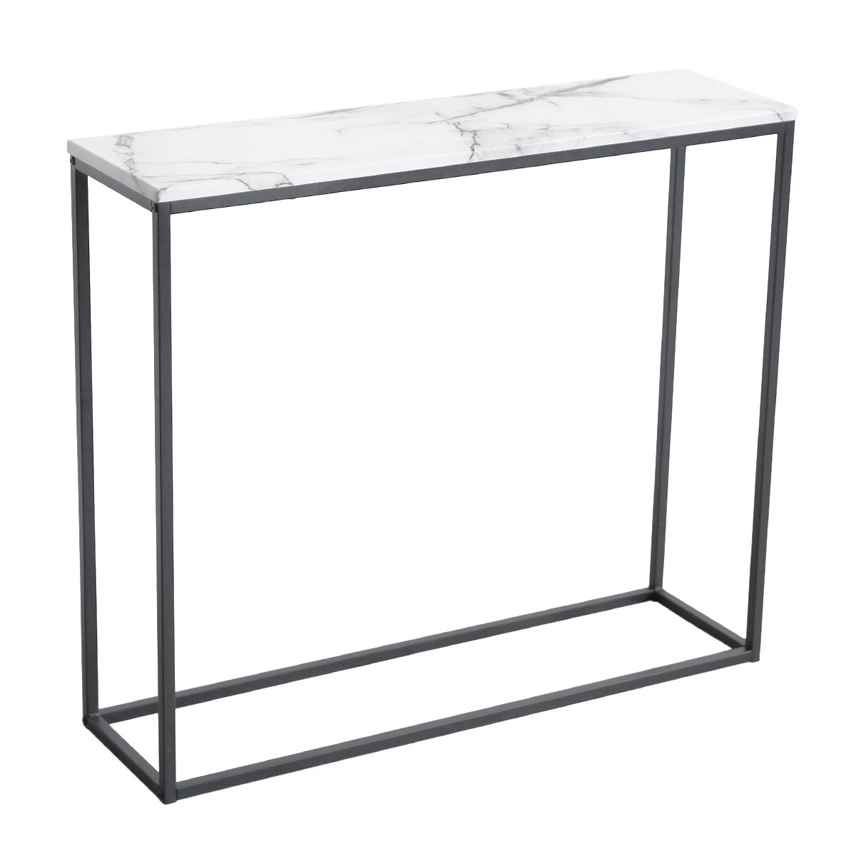 roomfitters Sofa Console Table Marble Print Top Metal Frame Accent White Narrow Foyer Hall Table,White by Roomfitters