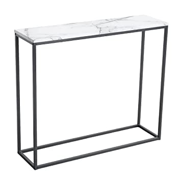 Roomfitters Sofa Console Table Marble Print Top Metal Frame Accent White Narrow Foyer Hall Table White