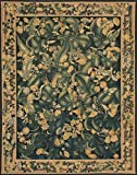 Ecarpetgallery Hand-woven French Tapestry Flowers 9' x 12' Black 100% Wool area rug