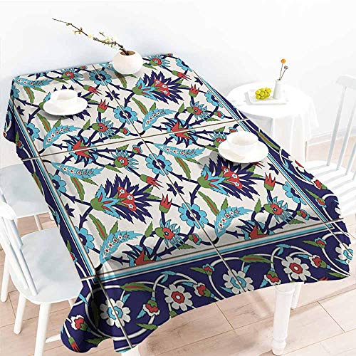Onefzc Water Resistant Table Cloth,Turkish Pattern Mosaic Tiles with Nature Inspired Ornaments Tulips and Daisies with Curls,Table Cover for Dining,W60X102L Multicolor