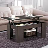 Cheap Yaheetech Grade E1 MDF & Iron Lift-up Top Coffee Table w/Hidden Storage Compartment & Shelf Espresso