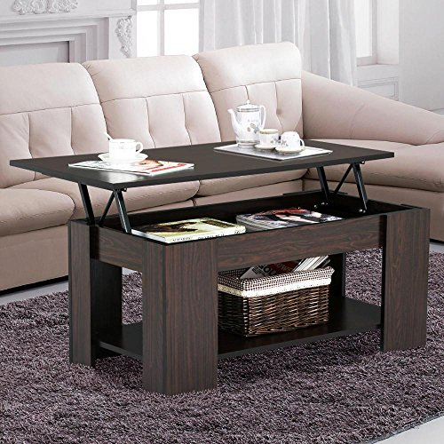 Yaheetech Grade E1 MDF & Iron Lift-up Top Coffee Table w/Hidden Storage Compartment & Shelf Espresso