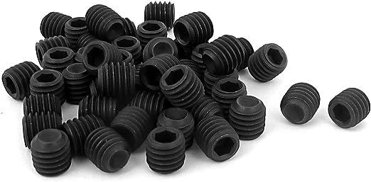 M6 x 12mm Hex Socket Set Cup Point Grub Screws Black 50pcs