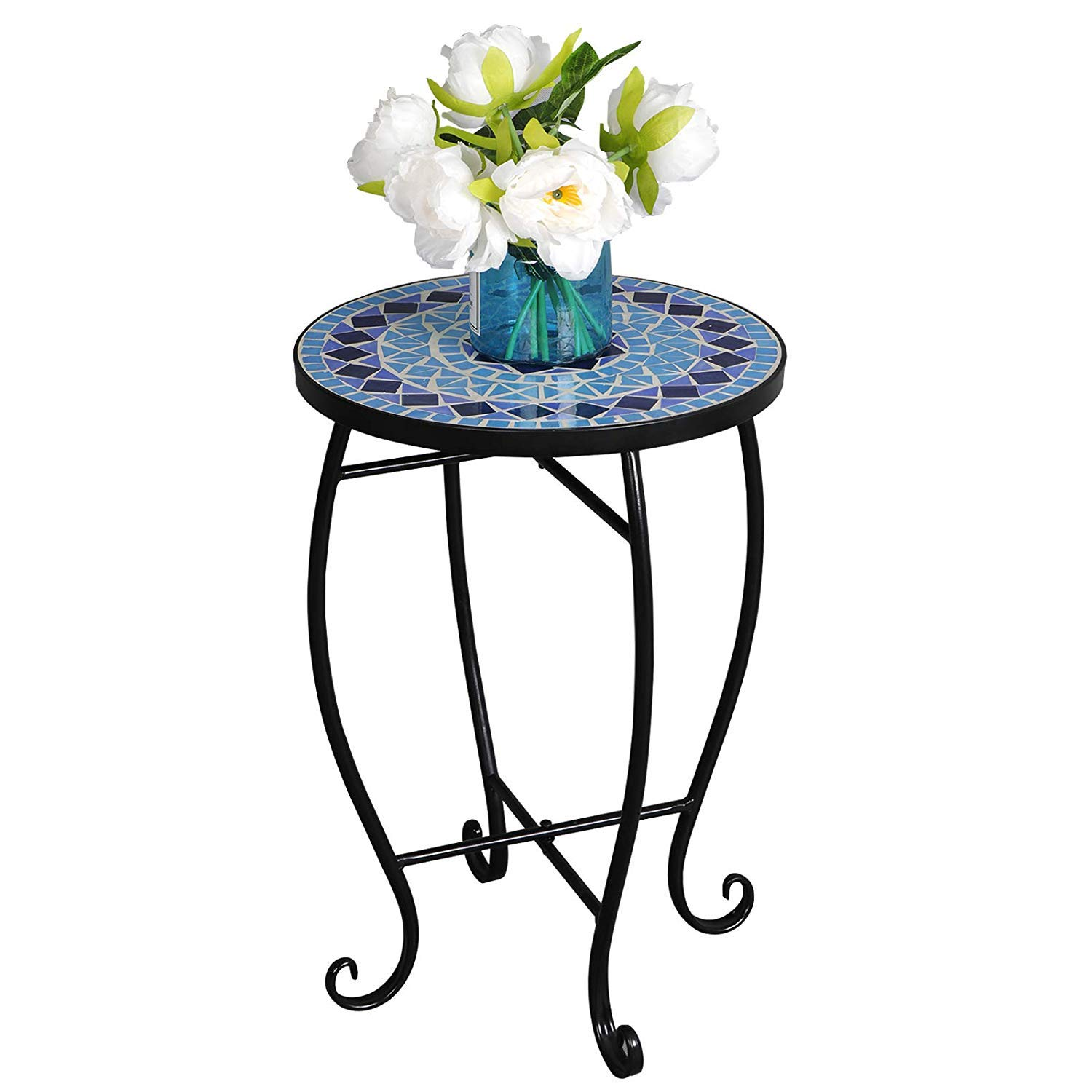 HomGarden Mosaic Round Side Table Plant Stand Floor Flower Pots Rack Planter Holder Porch Balcony Patio Garden Mosaic Tablejust Decor Accent Tables