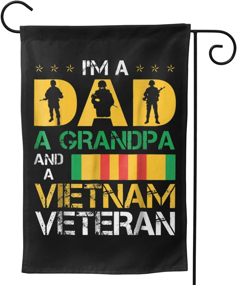 LEILEIflag I M A Dad Grandpa Vietnam Veteran T-Shirt Father S Day with American Flag Home Flag Outdoor Flag Garden Flag Double Sided Flag