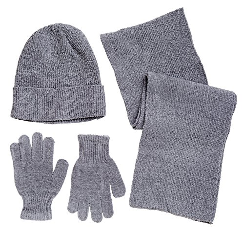 Winter Wear Women's Knit Snowboard Magic Gloves, Beanie, and Scarf Skiing Set - Grey (One Size)