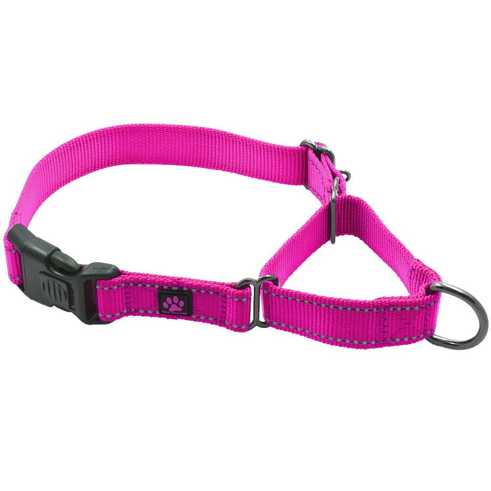 Max and Neo Nylon Martingale Collar - We Donate a Collar to a Dog Rescue for Every Collar Sold (Medium/Large, Pink)