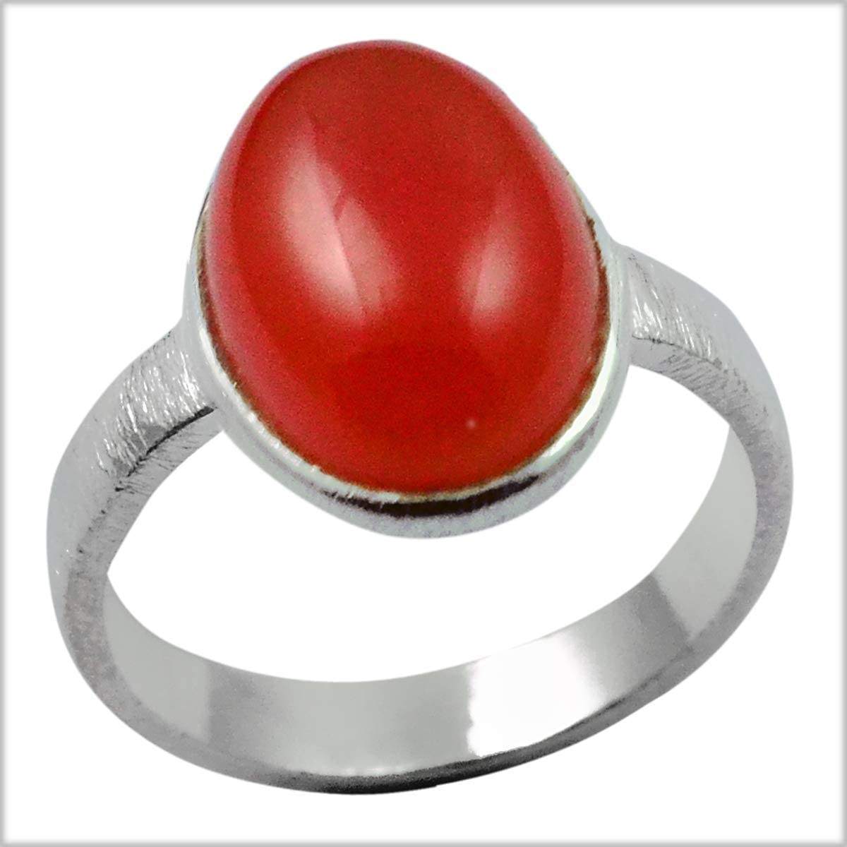 Silver Palace 925 Sterling Silver Natural Carnelian Rings for womens and Girls