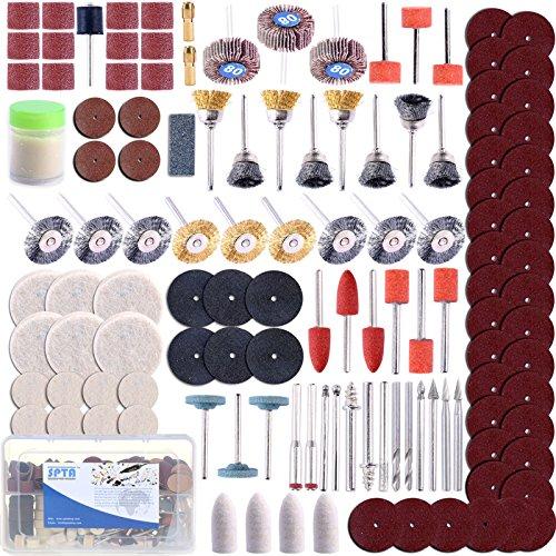 "SPTA Rotary Tool Accessory Set -1/8""(3mm) Shank Fits Dremel Grinding, Sanding, Polishing Pack of 350Pcs"