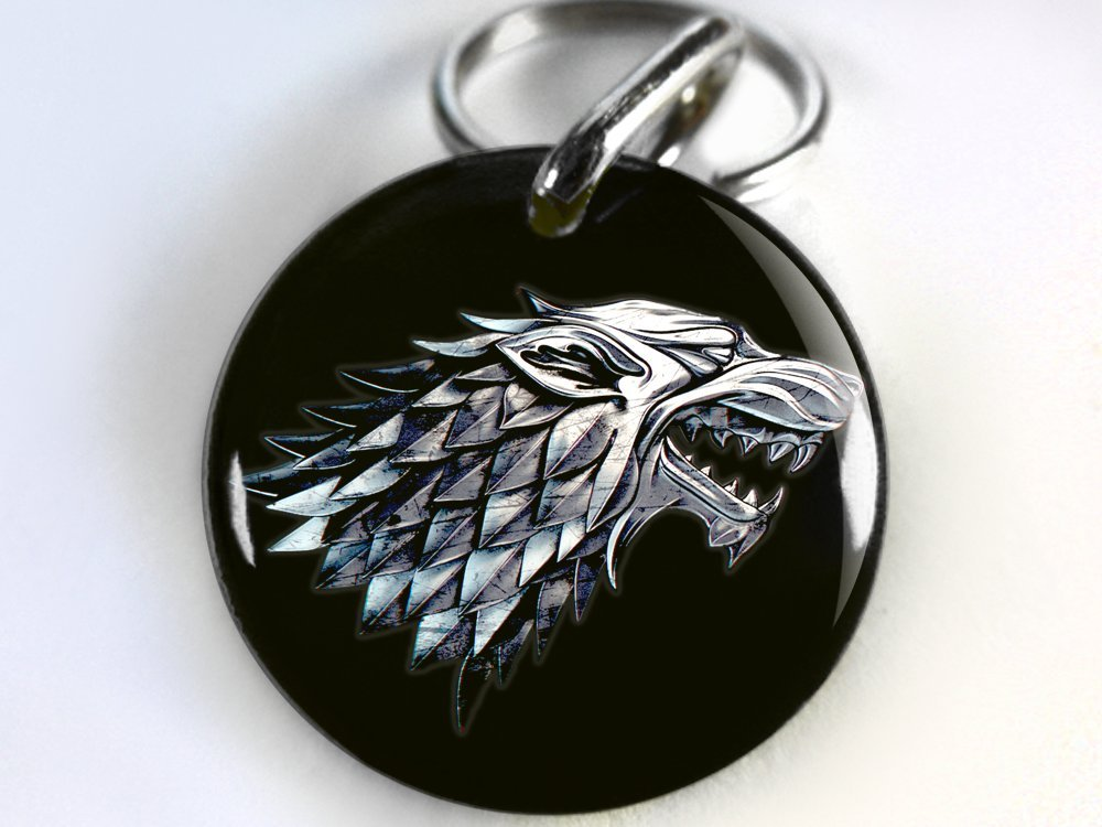 Game of Thrones Custom Pet ID TAG DOG TAG BLACK STARK WOLF (Small 1'')