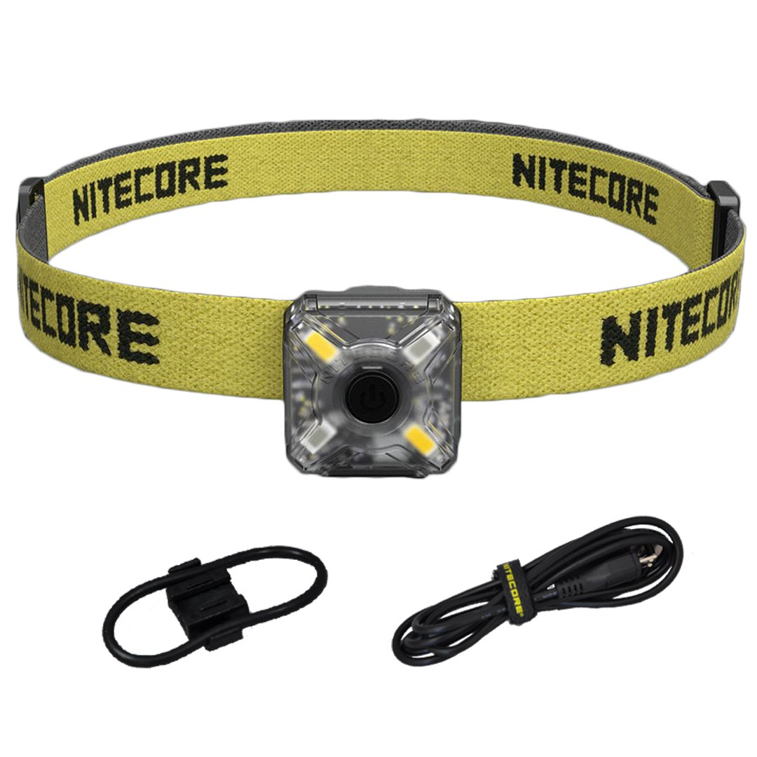 Nitecore NU05 Red White Output Rechargeable Headlamp Mate and Safety Light Kit with Bike Mount, Headband, Lumen Tactical Adapter and USB Cable