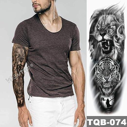 3 Piezas Tatuaje de Manga de Brazo Grande Corona de león Pegatina de Tatuaje Impermeable patrón de Lobo Salvaje Tatuaje de tótem para Hombre: Amazon.es: Hogar