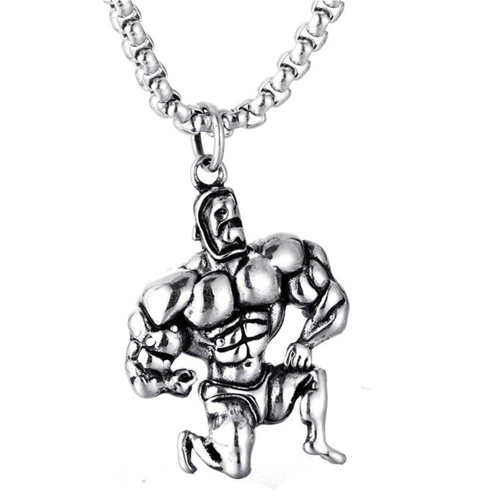 XIMAKA Stainless Steel Fitness Muscle Pendant Bodybuilding Wrestling Pendants Necklace with 24'' Chain