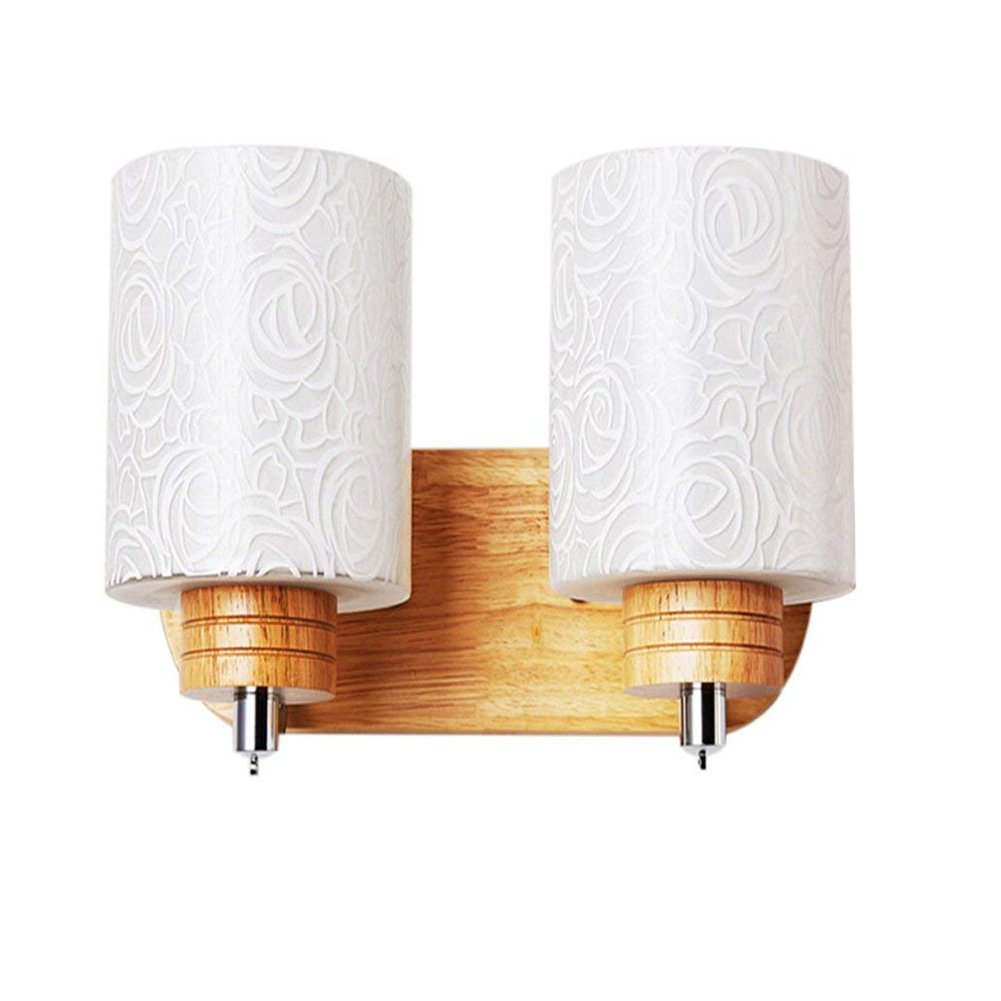 JiFengCheng Wood Wall lamp Bedroom Bedside Lamp E27 Modern Wall Sconce Bedroom Wall Lighting Contemporary lamp Wall HGSS-004-2