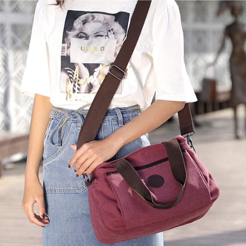 Women handbags Messenger Bag Ladies Crossbody Bag Solid Color Multi Pockets Zipper Tote Hobo Canvas Crossbody Shoulder Bag