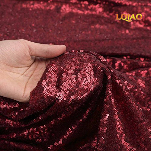 LQIAO Burgundy Sequin Fabric - 1 Yard. for Sewing Costumes Sequin Knit Fabric Shiny DIY Decoration
