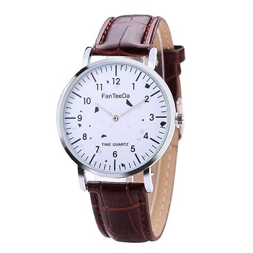 Givekoiu 2019 - Reloj de Pulsera analógico de Cuarzo con Correa de Piel de Lujo y Correa de Piel Blanca Fina para Hombre: Amazon.es: Relojes