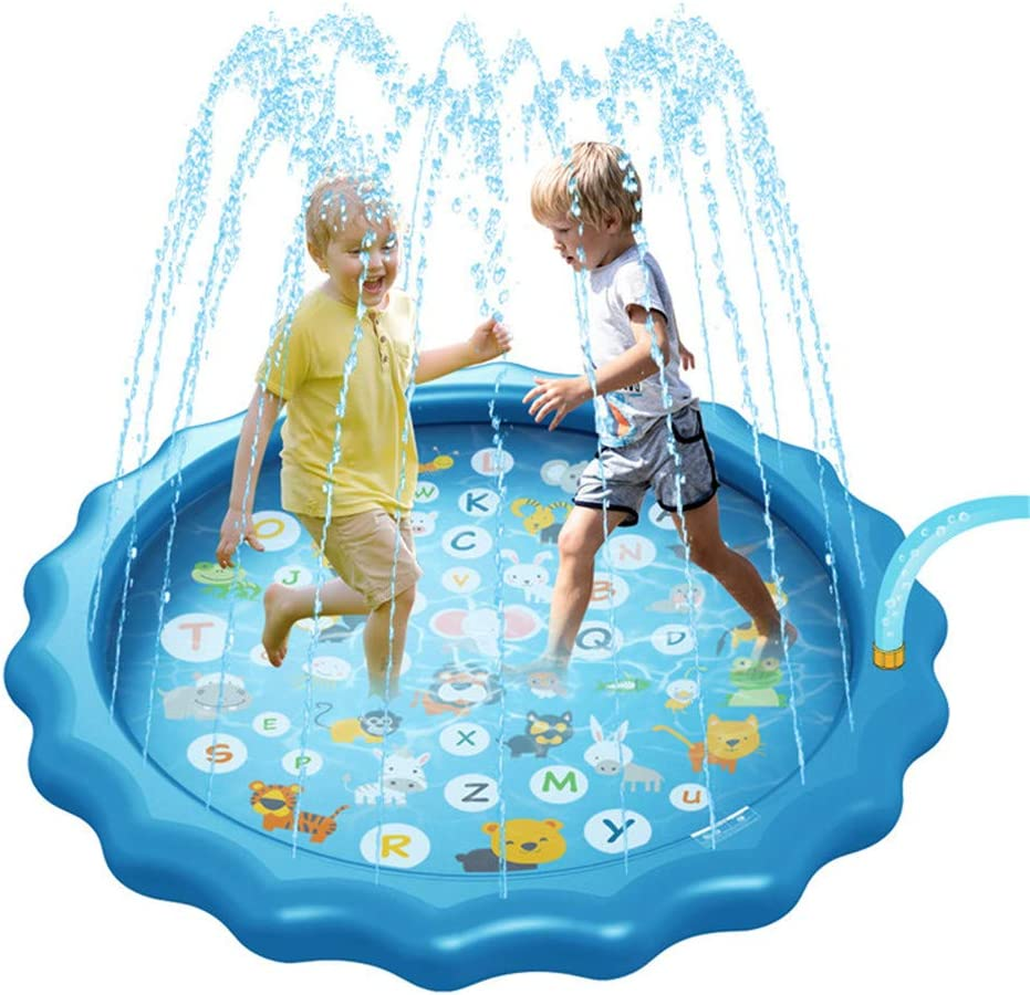 Splash Pad Bestmaple Sprinkler for Kids Childrens Sprinkler Pool from A to Z Outdoor Swimming Pool for Babies and Toddlers 68 Inflatable Water Toys and Wading Pool for Learning