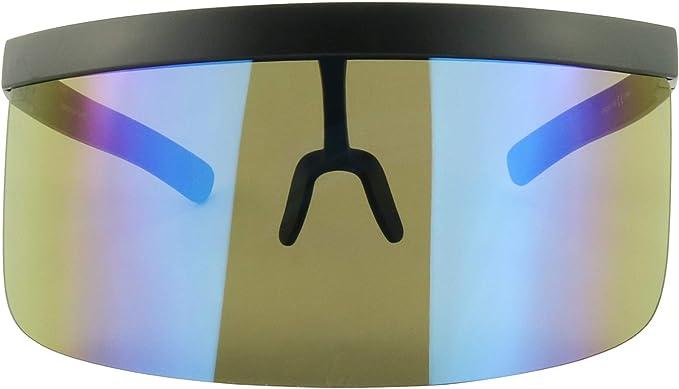 Unisex Futuristic Oversize Shield Visier Sonnenbrille Flache verspiegelte