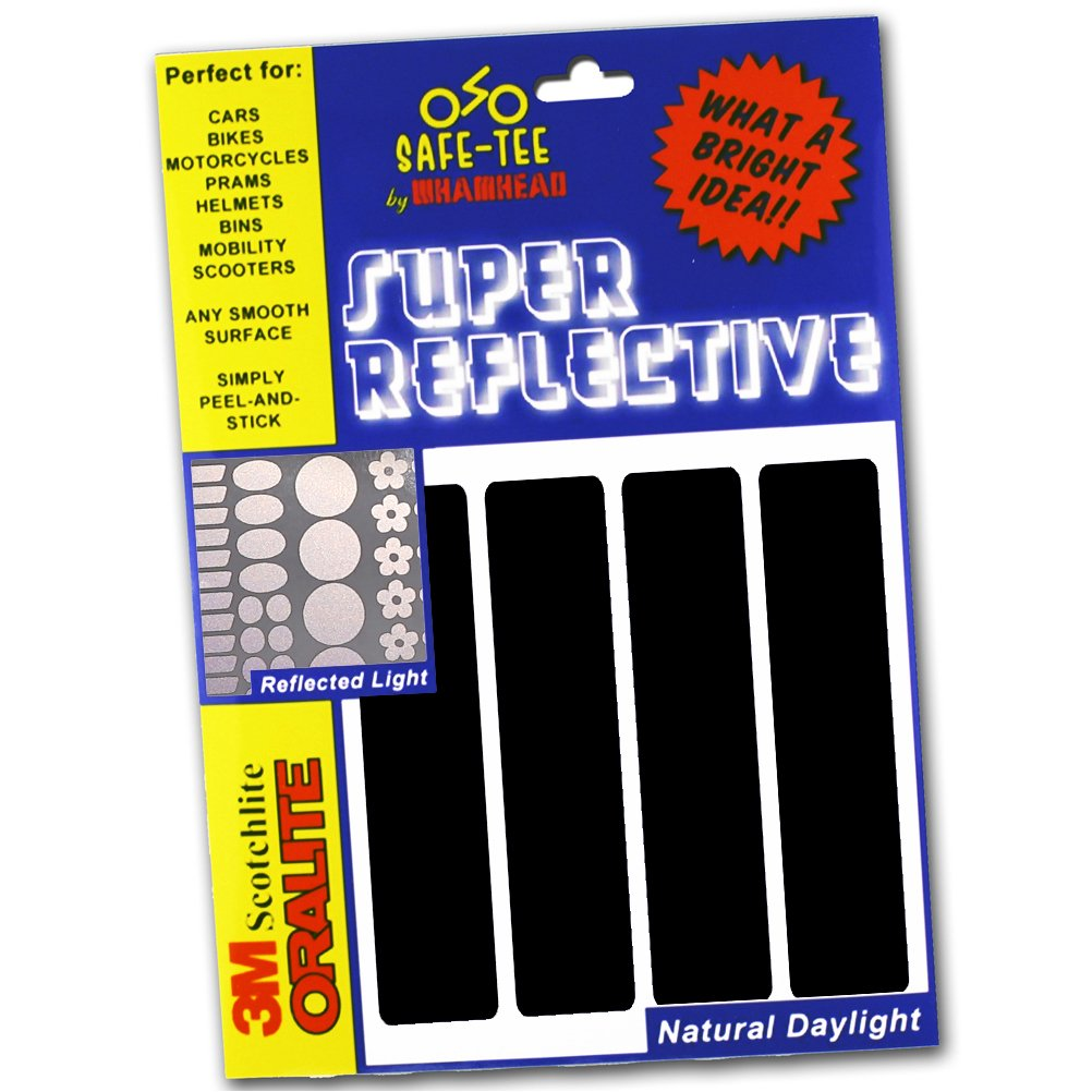 Safe-Tee BLACK (Reflects as white) Reflective MOTORCYCLE HELMET Stickers - Complies with French Law Whamhead REF-HLM-BLA