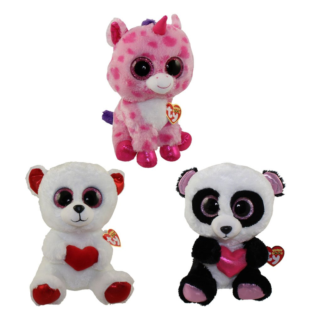 Amazon.com  TY Beanie Boos - SET of 3 VALENTINES 2016 Releases (Medium - 9  inch)( Cutie Pie 59065ff1714