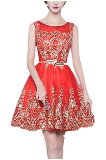 3945be34a Charm novia 2016 rojo sin mangas para mujer noche fiesta vestidos de dama  verano  Amazon.es  Ropa y accesorios
