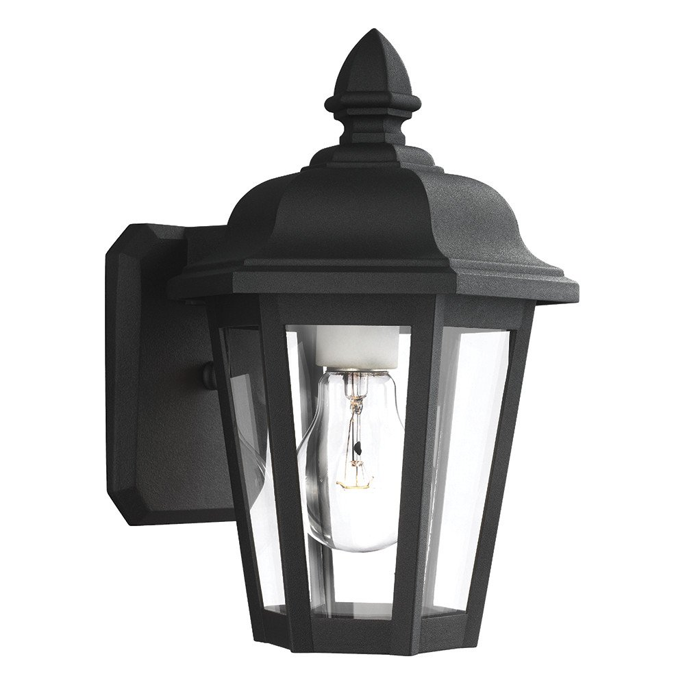Sea Gull Lighting 8822-12 Brentwood One-Light Outdoor Wall Lantern with Clear Glass Panels, Black Finish