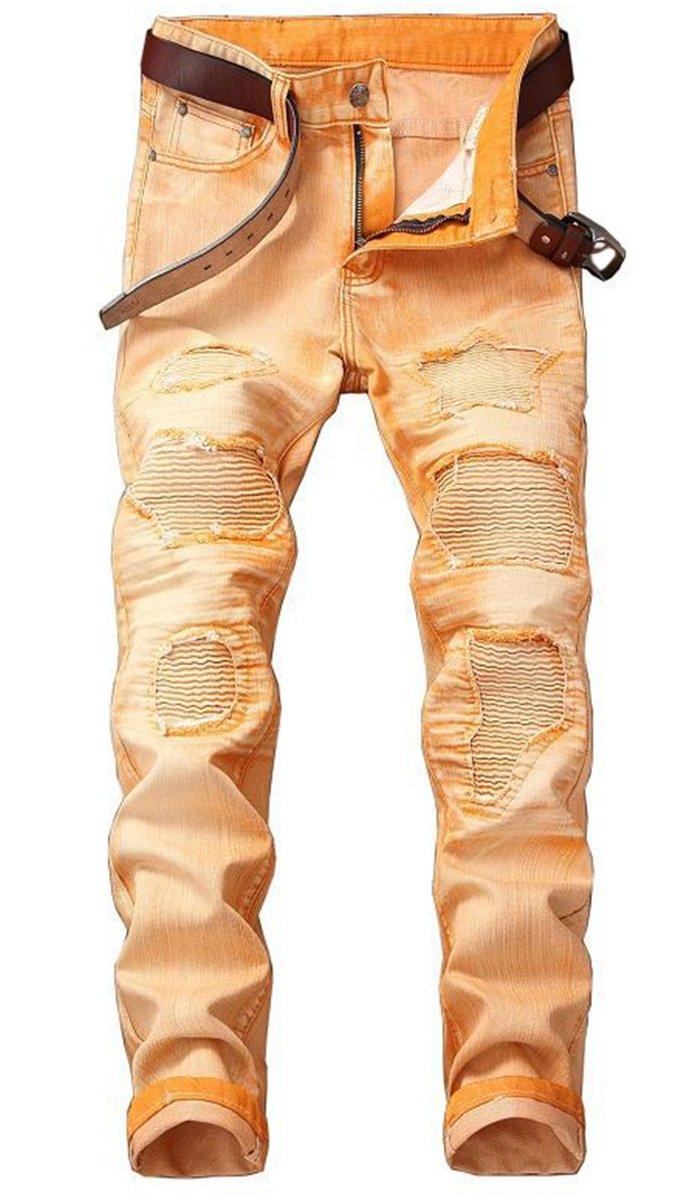 QZH.DUAO Men's Color Dyed Moto Biker Distressed Ripped Slim Straight Fit Denim Jeans Pants, Orange, 36