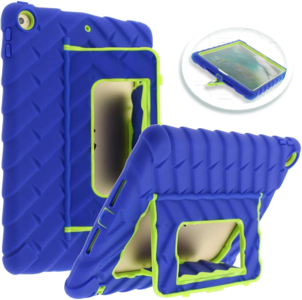 Gumdrop Hideaway Case with Kickstand for the Apple iPad 9.7 (6th and 5th Gen) Tablet for K-12 Students, Teachers and Kids - Royal Blue/Lime, Shock Absorbing, Rugged, Extreme Drop Protection
