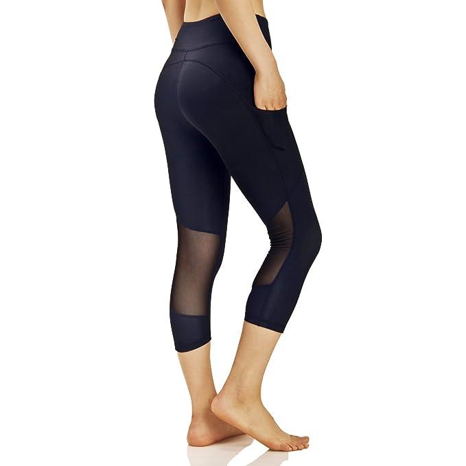 0a9f2e4051597 Black Yoga Running Workout Capri Leggings Side Pockets-Women's Active  Leggings (XS)