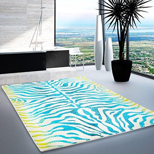 Designer Teppich modern multi-creme Splash Farbverlauf Polyester SALE 50%(Zebra blau türkis grün,160x230 cm)