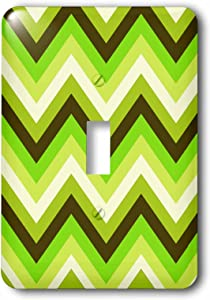 3dRose lsp_165751_1 Chevron Pattern in Green Apple Colors Modern Look Light Switch Cover