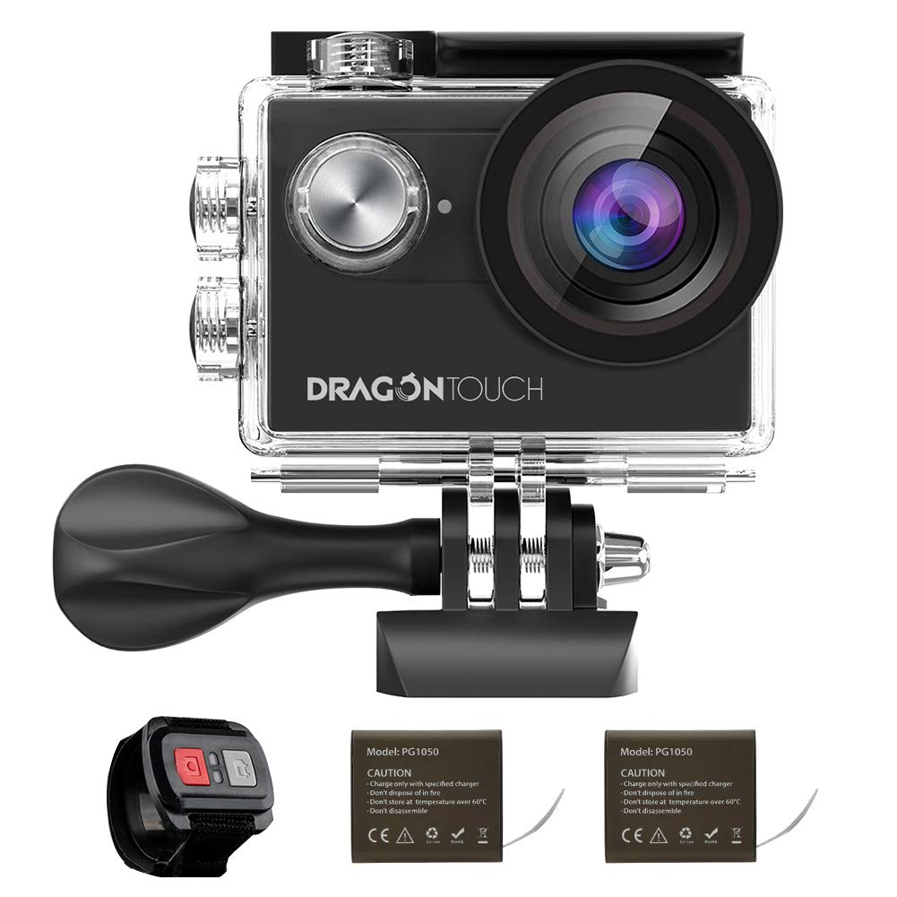 Dragon Touch 4K EIS Action Camera 16MP Vision 4 Support External Mic Underwater Camera Remote Control WiFi Sports Camera with 2 Batteries and Mounting Accessories Kit AKASO