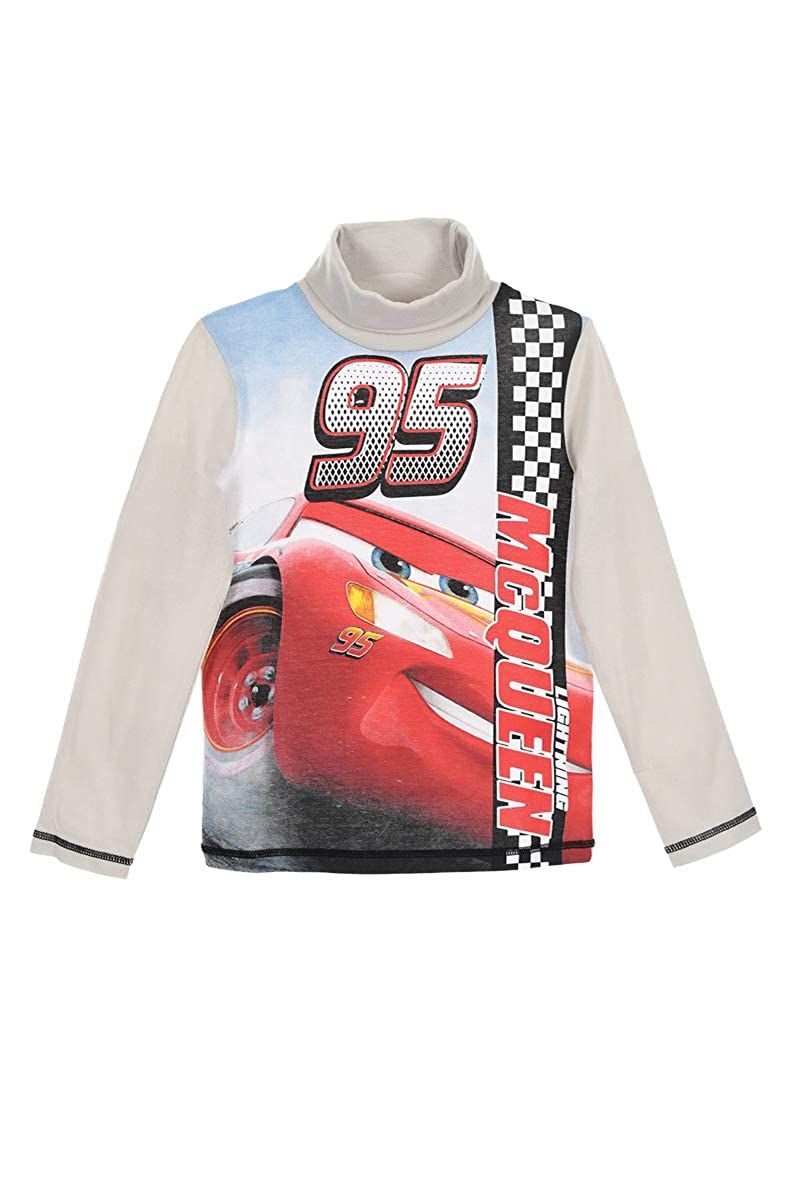 Disney Pixar Cars Official Boys Long Sleeve 100/% Cotton Top Turtle Neck T-Shirt with Large McQueen Character Picture 2-8 Years