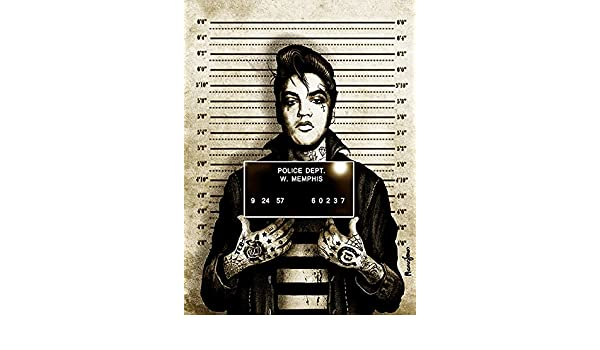 Mr Vegas Tattooed Elvis Mugshot Marcus Jones Lowbrow Fine Art Print Lithograph