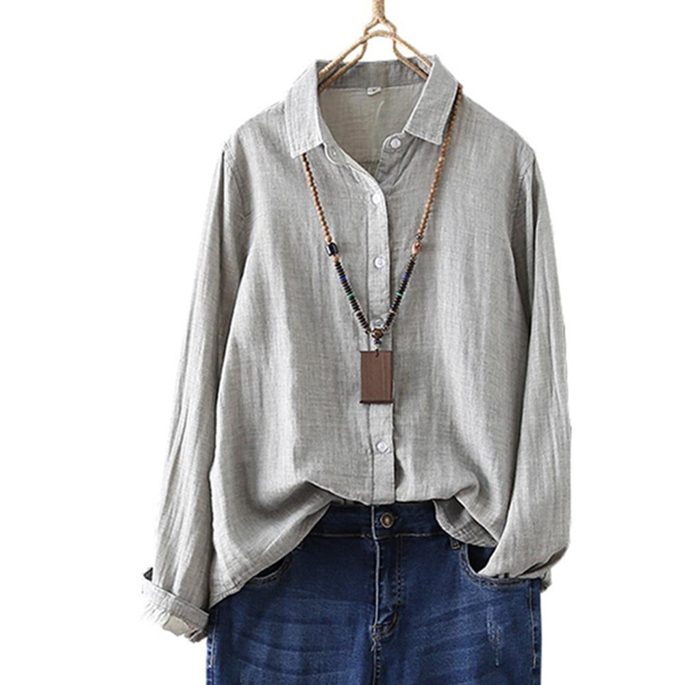 YOUMU Women Vintage Cotton Linen Shirt Long Sleeve Button-Down Loose Blouse Top