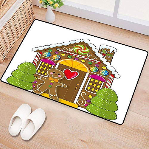 WilliamsDecor Gingerbread ManWaterproof Door matCute Gingerbread House Decorated with Colorful Candies Man Graphic FigureMildew Proof W31 xL47 Multicolor -