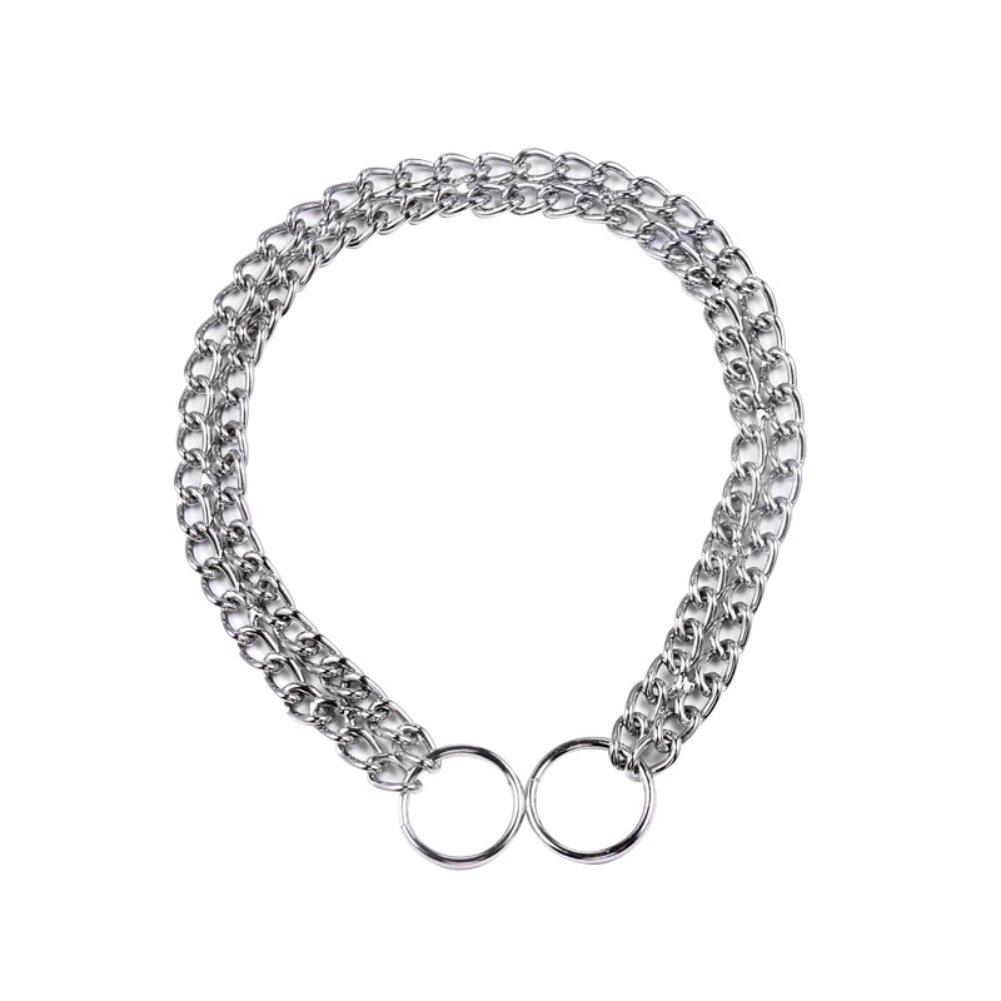 Collier de dressage de cha/îne en m/étal plaqu/é collier couplage collier en fer double collier KAYI Pet
