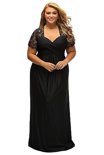 791d71d9c29 Lalagen Women s Lace Sleeve V Neck Plus Size Evening Maxi Dress Gown Black  XL