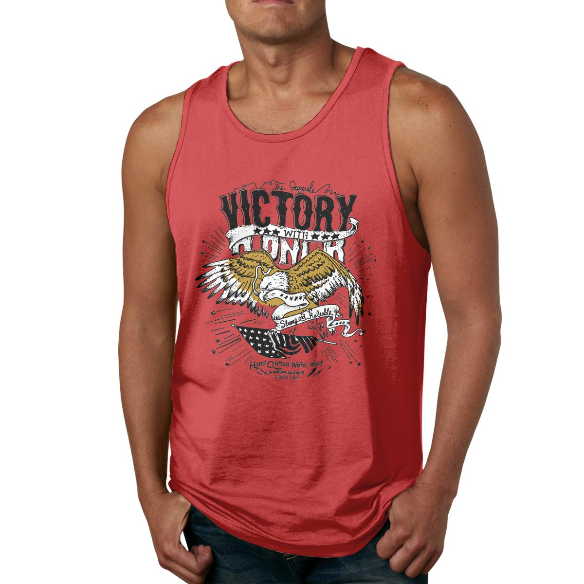 Mens Cotton Pure Color Round Neck Handmade Sketch Eagle Sports Tank Top