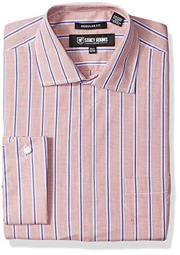 STACY ADAMS Mens Mini Check W/Dobby Stripe Clsssic Fit Dress Shirt
