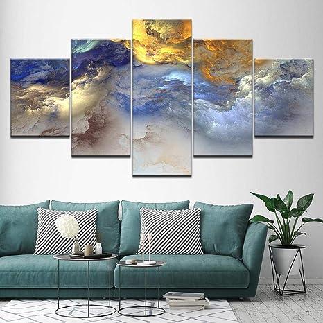Zheqr Amarillo Azul Gris Abstracto Nube 5 Murales Arte