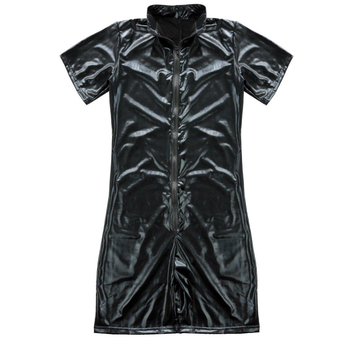 c8817fd52cb Amazon.com  iEFiEL Men Patent Leather Romper Bodysuit Club Studio Stage  Catsuit Zipper Costume  Clothing
